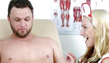 Sexy Nurses Give Man A Handjob
