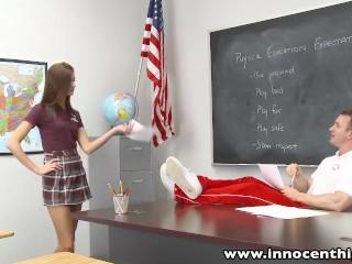 Small Tit Schoolgirl Teen Rides Teachers Cock