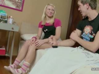 Brother Helps Petite Skinny Step-Sister With