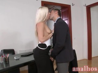 Small Tit Blonde Sucks Cock And Anal Fucked
