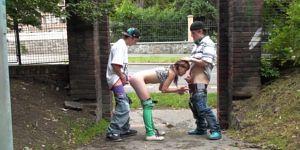 Very Pretty Teen PUBLIC Street Gangbang Part 5