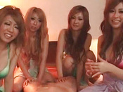 Lucky Guys As She Is Served With Four Hot Babes Who Suck Him