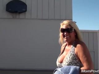 Big Tits Blonde MILF Public Flashing