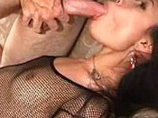 Asian  In Fishnet Stockings In Hardcore Action