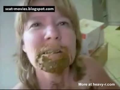 Dirty Old Bitch Eats Her Own Poop