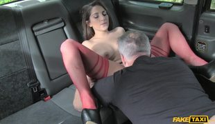 Hot Amateur In Red Stockings Jimena Lago In Fake Cab