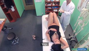 Long Haired Brunette Eveline Dellai Plays With Doctor's Dick