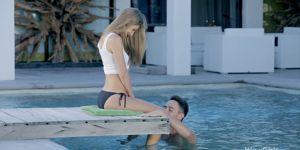 Skinny Blonde Sucks And Fucks By The Pool