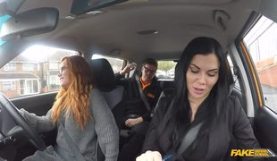 Nice Threesome Fuck With Redhead Girl And Two Fake Instructors