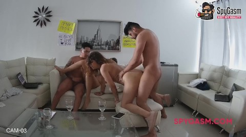 Wild Orgy On The Couch With Striptease And Blowjob