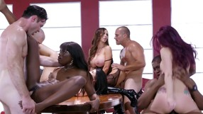 Six Passionate Lovers Are Enjoying Gangbang Party