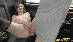 Redhead Cutie In Black Stockings In Fake Taxi Sex Adventure