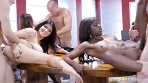 A Group Of Three Girls Share Four Cocks In Interracial Orgy