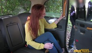 Redhead Babe Sabrina Jay In Passionate Fuck With Fake Cabbie