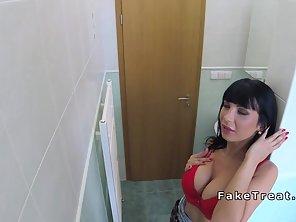 Huge Tits Brunette Sucks Doctors Cock