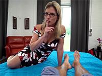 Naughty Blonde Stepmom Lets Boy Creampie Her Hairy Pussy