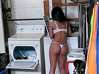 Gorgeous Half-naked Girlfriend Fucked In The Laundry Room