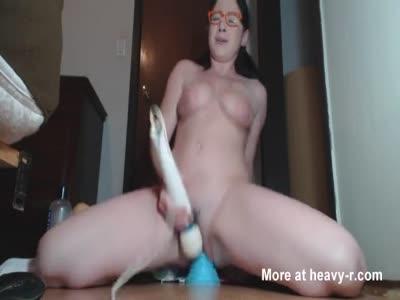 Busty Amateur Rides Big Toy