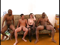 Wicked Interracial Gangbang Fucking For Hot Chick In Stockings