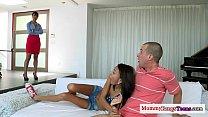 Squirting Petite Teens Threeway With Stepmom