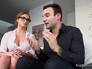 Natural Huge Tits Lawyer Bangs Client In Office