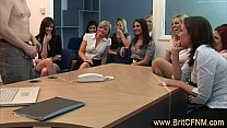 Office Guy Made To Undress In Front Of A Crowd Of CFNM Babes