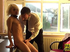 Skinny Short Haired Babe Getting Hammered Hard By Boss