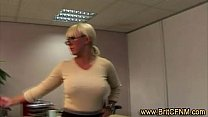British Lady Boss Shows Juniors How To Wank The Office CFNM Perv
