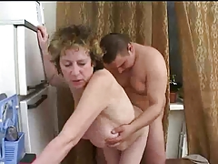 Russian MILF Is Getting Fucked By Her Son In The Kitchen
