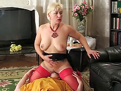 Russian MILF With White Hair Is Dominating Her Partner
