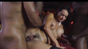 Foxy Brunette Chokes On Two Big Black Cocks