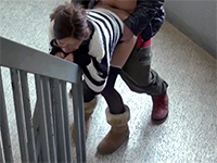 Horny Asian Chick Gets Fucked And Creampied On The Public Building Stairs