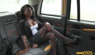 Classy Ebony Babe Gets Fucked On The Backseat Of Fake Taxi