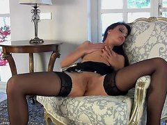 Stocking-clad Lorena G. Gets Herself Off