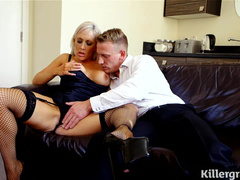 Barbarous Deepthroating For Horny Blonde Chick In Stockings