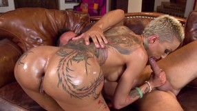 Oily Tatted-up Blonde Getting Ass-fucked Sideways