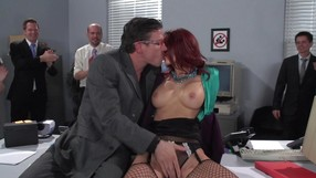 Redhead Whore Is Sucking Her Lovers Cock In The Office