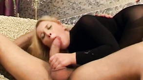 Blond In Stockings Is Surrounded By Cocks
