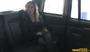 Sexy Blonde In Black Stockings Tries Fake Taxi Driver's Cock