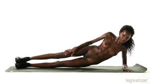 Fitness With Naked Ebony Babe