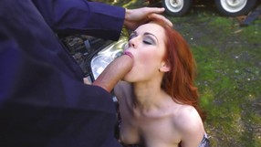 Hungry Redhead Craving Her Mechanics Rod