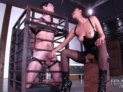 Slave Man In Cage Offers Vicki Chase To Give Him Handjob