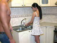 Horny Guy Banged His Tight Girlfriend In The Kitchen