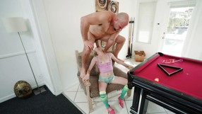 Petite Blonde Is Transfixed With A Huge Junk.