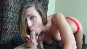 Red Panties Go Down When She Sees A Big Cock