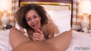 Ebony Mature With Saggy Tits Takes Cumshot On Her Hairy Old Cunt