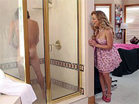 Horny Cougar Mom Joins Him In The Shower