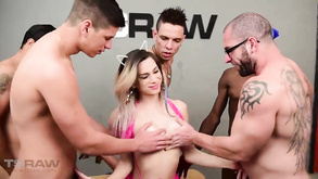 Hot Blonde Transvestite With Small Tits Loves To Fuck In Group Sex On The Table