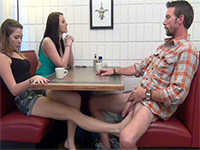 Filthy Daughter Gives Footjob To Not Her Dad Under The Table