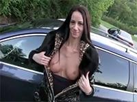 Brunette Teen Flashing Her Boobs In Public For Cash